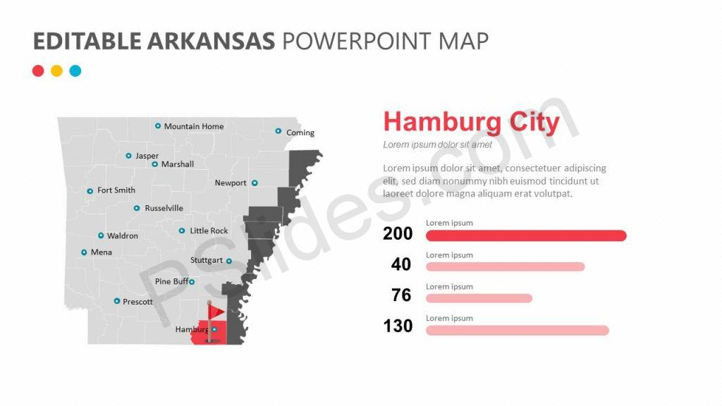 Editable Arkansas PowerPoint Map